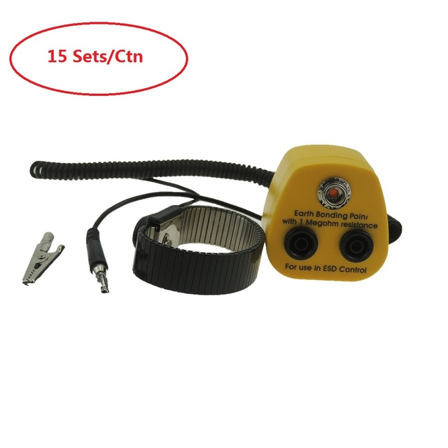 15 Sets  ESD Metal Wristband Grounding With Earth Bonding Plug Antistatic Wrist Strap  ESD ground socket Anti Static Grounding