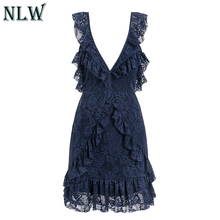 Nlw Lace Ruffle White Women Party Dress Backless Red Beach Boho Navy Blue Deep V