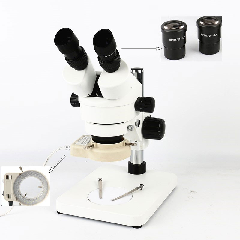 7X 45X Table Pillar Stand Binocular Stereo Zoom Microscope Inspection PCB Microscopio Accessories 56 Led Ring Light
