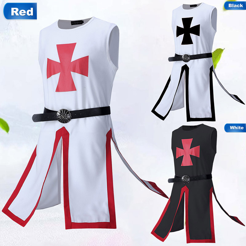 2019 Medieval Knight Templar Crusader Cosplay Costume Men Vest Tunic Shirt Warriror Cavalier Armor Tabard Black Belted Clothing