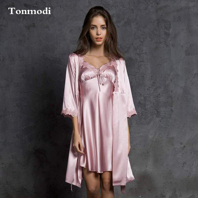 5a4e4b79a6c Robes For Women Spring Sexy Ladies silk Robe Spaghetti Strap Nightgown  Loose Silk lounge dressing gown 2 Picecs Set
