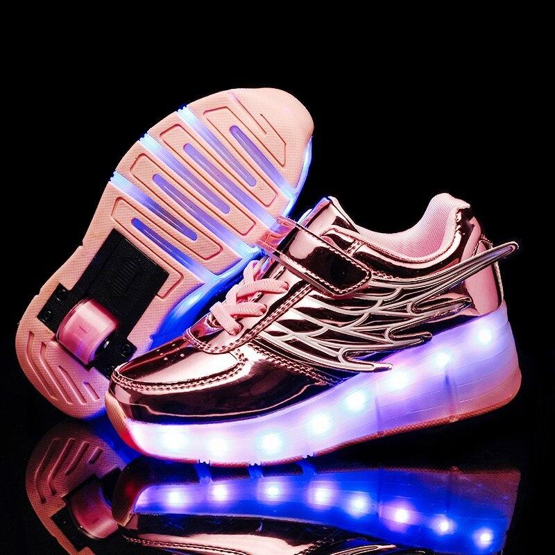Skate-Shoes Wheels Roller Led-Light Kids Sneakers Usb-Charging Girls Boys Children Fashion
