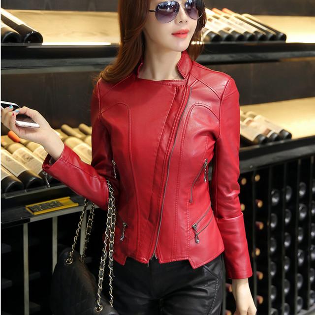 2016 spring and autumn women leather clothing jacket short design plus size slim fashion motorcycle leather coat female