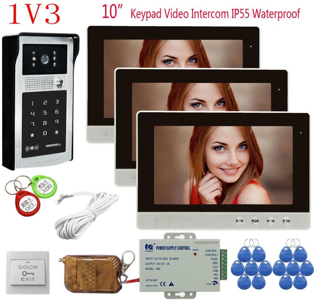 Home Intercoms 3 Units 10 Inch Color Video Intercom Rfid Keyboard Video Call Intercom Doorbell+ Remote Control Door Phones 1v3