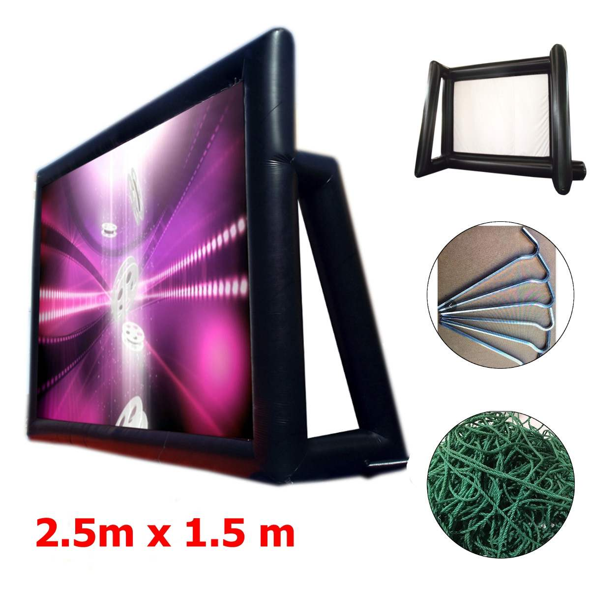 1.33mx0.75m 16:9 Inflatable Movie Screen Inflatable Rear Projection Movie Screen Inflatable Film Screen