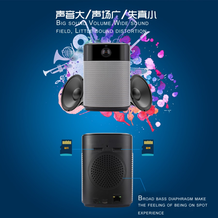 Panoramic 180Degree 1080P HD Wifi IP Camera Built-in Bluetooth4.2 2X5W Stereo Speaker Dual Card for Recording & Playing Free APP_F9