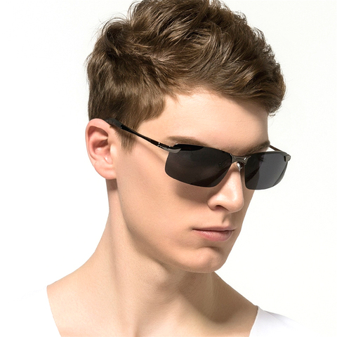Rimless Polarized Sunglasses Men Driving Men Sunglasses Night Vision UV400 Goggles Alloy Photochromic Sunglasses Change Color Lahore