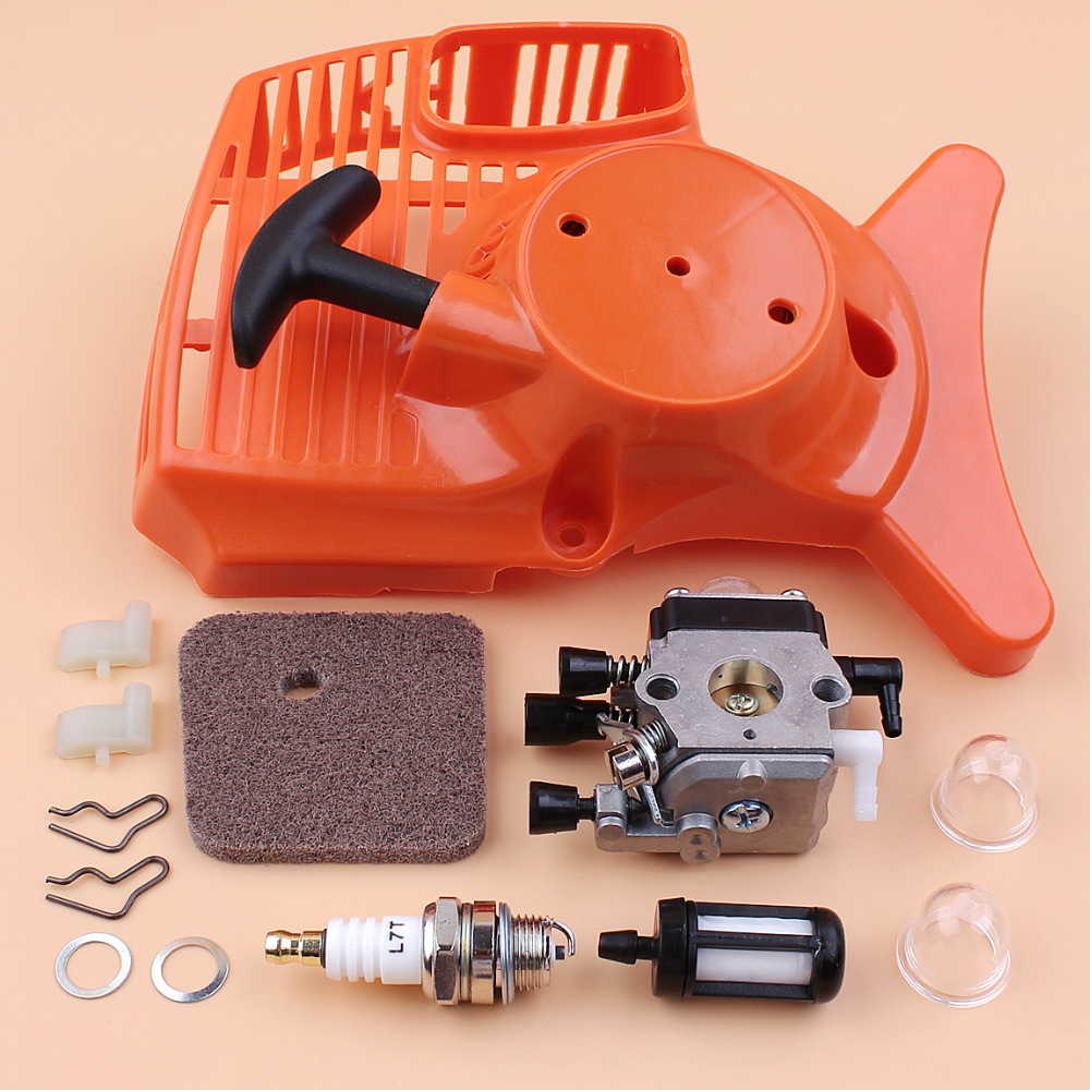 Recoil Starter Carburetor Air Filter Kit for STIHL FS55 FS38 FS45 FS46 FC55 HL45 KM55 Grass Trimmer Replace Zama Carburetor поло print bar in science we trust