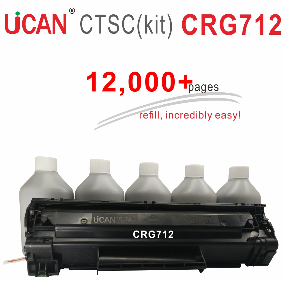 Cartridge 712 for Canon LBP3010 LBP3018 LBP3050 LBP3108 LBP3100 LBP3150 LBP3030 Laser Printer Toner UCAN CTSC kit 12000 pages cs dc3100 toner laserjet printer laser cartridge for dell 3000 3100 k5361 k5364 593 10061 593 10063 593 10067 4k 4k kcmy