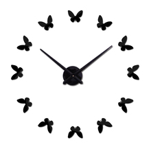 Hot Promotion Mirror acrylic wall clock europe horloge murale clocks living room home decoration butterfly stickers