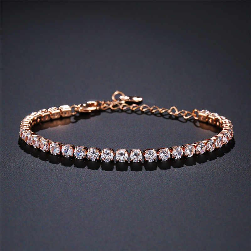 NEWBUY luksusowa przezroczysta biała cyrkonia sześcienna łańcuszek ogniwowy z kryształami uroku bransoletki dla eleganckich kobiet Trendy kobiece Party biżuteria prezent