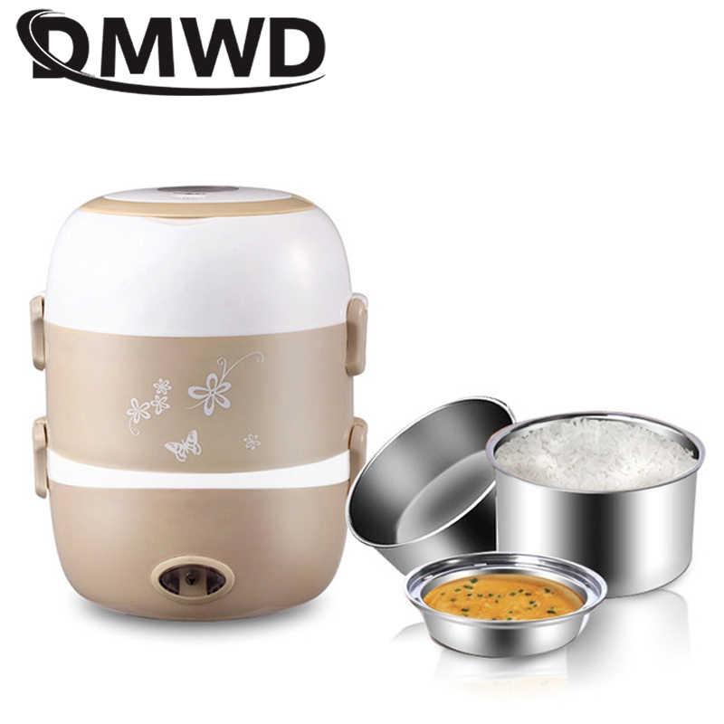 DMWD elektryczne urządzenie do gotowania ryżu 3 warstwy żywności pudełko na drugie śniadanie z możliwością podgrzewania pojemnik studenci gotowanie parowiec Lunchbox posiłek cieplej naczynia ue