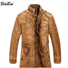 BOLUBAO New Men Winter Leather Suede Jacket Brand Fleece Lined Thick Warm Casual