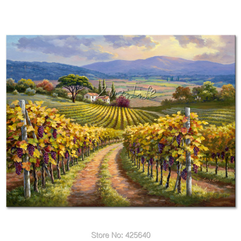 Hand-painted Mediterranean pastoral landscape painting for the sitting room decorates a wall pictures painted on the canvas artHand-painted Mediterranean pastoral landscape painting for the sitting room decorates a wall pictures painted on the canvas art