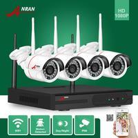 ANRANกล้องวงจรปิดP2P 4CH Wifi NVR 24IR IRกันน้ำมินิกระสุน720จุดวิดีโอIPไร้สายกล้องระบบรักษาความปลอดภัยฮาร์ดด...