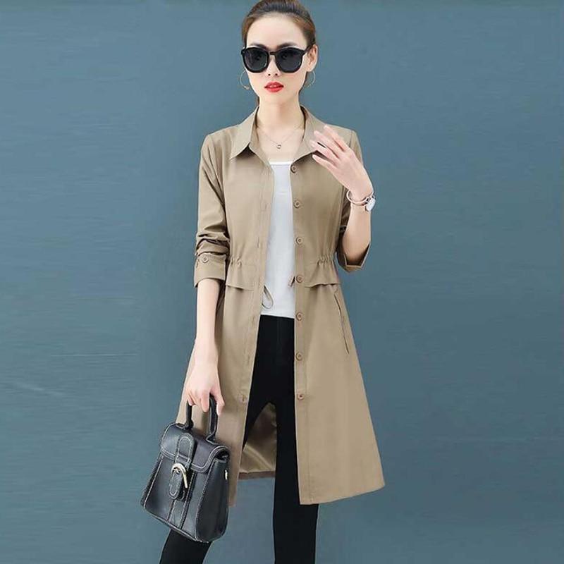Women   Trench   Coat 2019 Korean New Spring Autumn Plus Size Turn-Down Casual Single-breasted Elegant Slim Female Long Coat