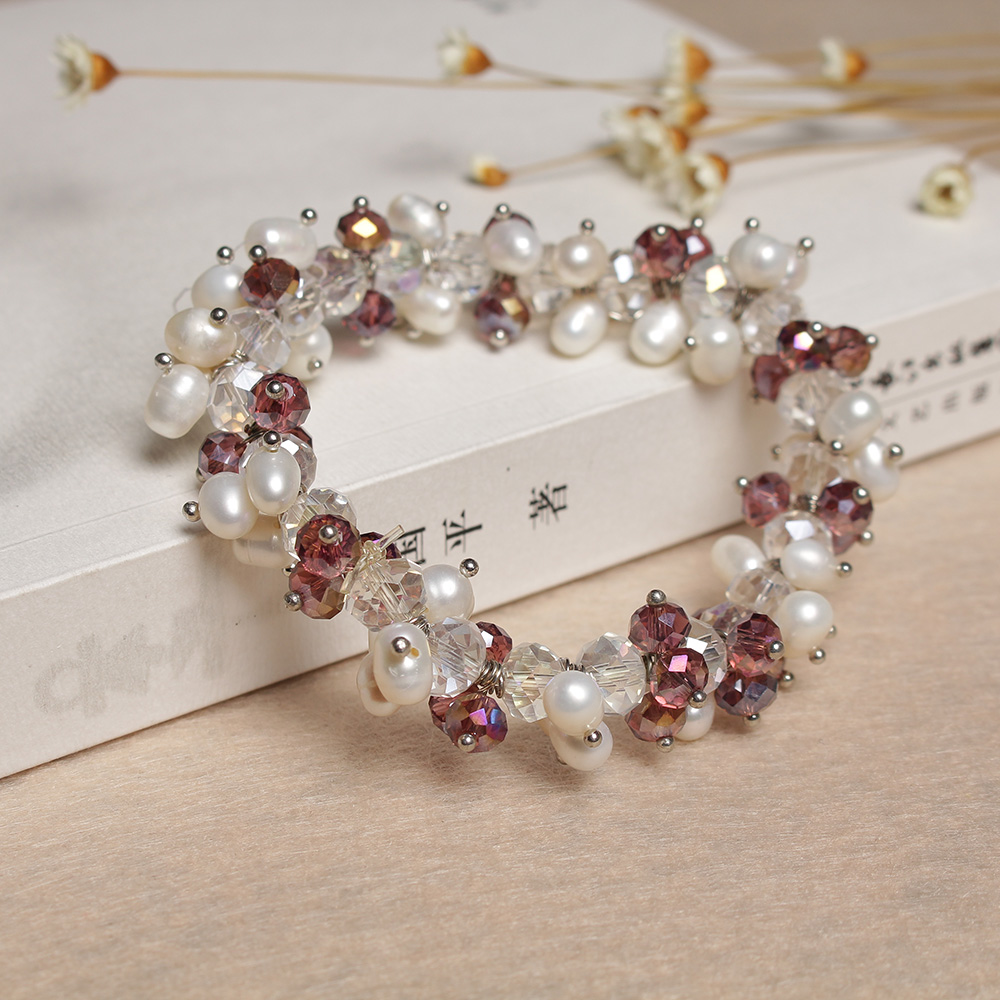Genuine Natural Freshwater Rice Bead Bracelet White Pink Purple Mixed Color Genuine Female Light Extended Chain Adjustable diy