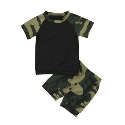 Casual Baby Boys Girls Camouflage Outfit Set Clothes Short Sleeve T-shirt Top+ Pants Shorts 2PCS Summer Outfits