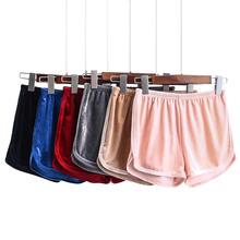 Sexy Women Soft Velvet Shorts Fitness Solid Slim Fit Elastic Waist Outwear Spring Summer Short Pants FS99