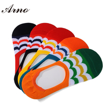 Arno 2016 Summer New Fashion Men No Show Cotton Socks Colorful Seamless Happy Breathable Mens Invisible Socks,5011-5P