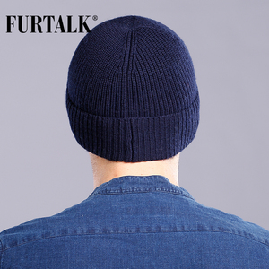 Image 3 - FURTALK Wool Cashmere Men Winter Hat Man Knitted Beanie Skullies Warm Winter Male Beanie Cap Black Grey
