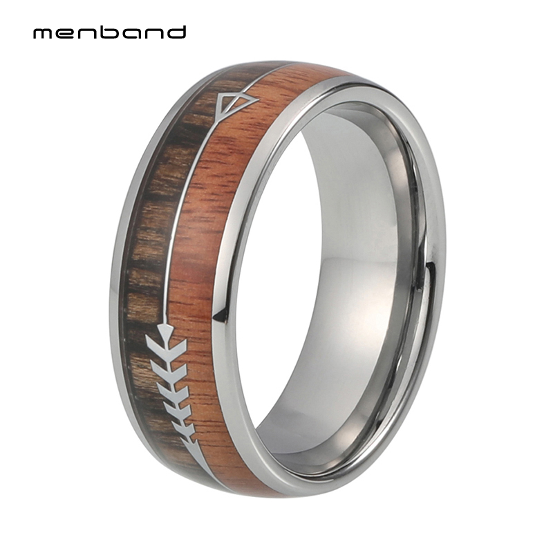 Wood Ring Tungsten Men Wedding Ring 8MM With 2 Different Woods And Arrow Inlay black tungsten carbide with dark wood inlay mens wedding ring
