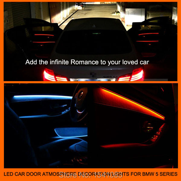 New arrival interior led car door panel atmosphere lights decoration lamp blue orange or two for How to change interior light bulb in car