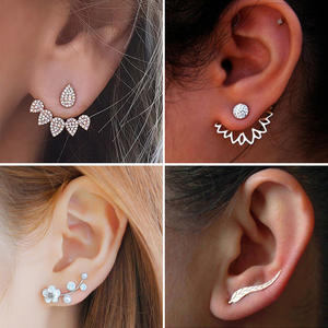 2019 New Crystal Flower Drop Earrings for Women Fashion Jewelry Gold Silver Rhinestones