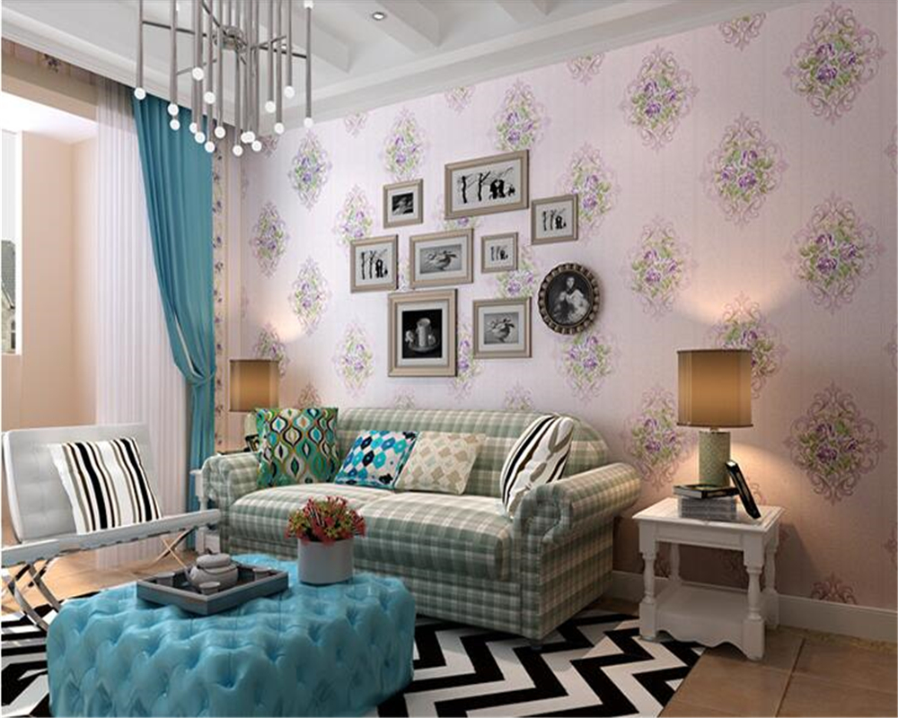 beibehang papel de parede Beautiful wallpaper non-woven pastoral living room warm bedroom flowers sofa TV wall 3d wallpaper