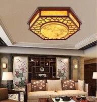 Китайский ресторан Дерево столовая потолочные светильники шестиугольник овчины печати ПВХ имитация овчины лампы ZH ZS58