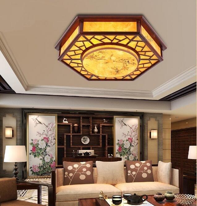 Chinese wood restaurant dining room ceiling lights hexagon sheepskin printing PVC imitation sheepskin lamps ZH ZS58