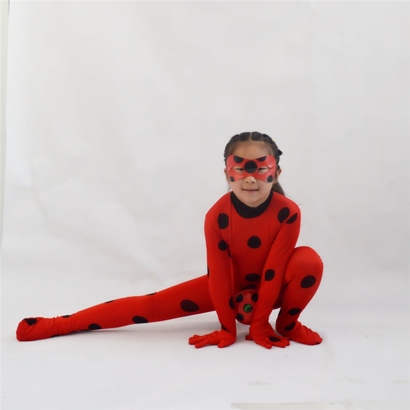 Halloween Costume Cosplay Mysterious Ladybug Costume Girl Party Ladybug Marinette Play Costume Girl Onesies