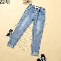 Sommer Zerrissenen Jeans für frauen hohe taille plus größe dünne bleistift ankle länge Hosen für frau 5XL