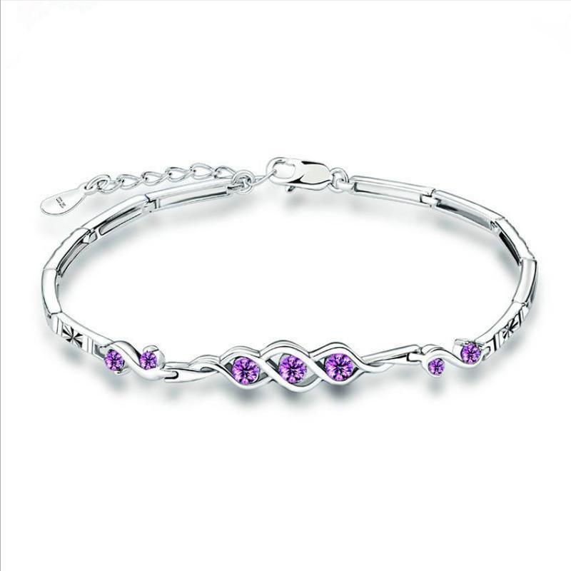 Everoyal Vintage Silver 925 Women Bracelets Accessories Lady Wedding Bijou Luxury Crystal Purple For Girls Jewelry