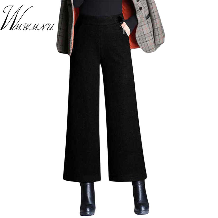 Plus Size 5XL Women Wool   Pants   Street Wear Fashion Elastic High Waist   Wide     Leg     Pants   Ladies Office Casual Autumn Winter Trousers