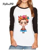 New 2017 Mexico Artist Frida Kahlo Design T Shirt Women Autumn Long Sleeve T Shirt Femal Casual Women tops Brand Tops
