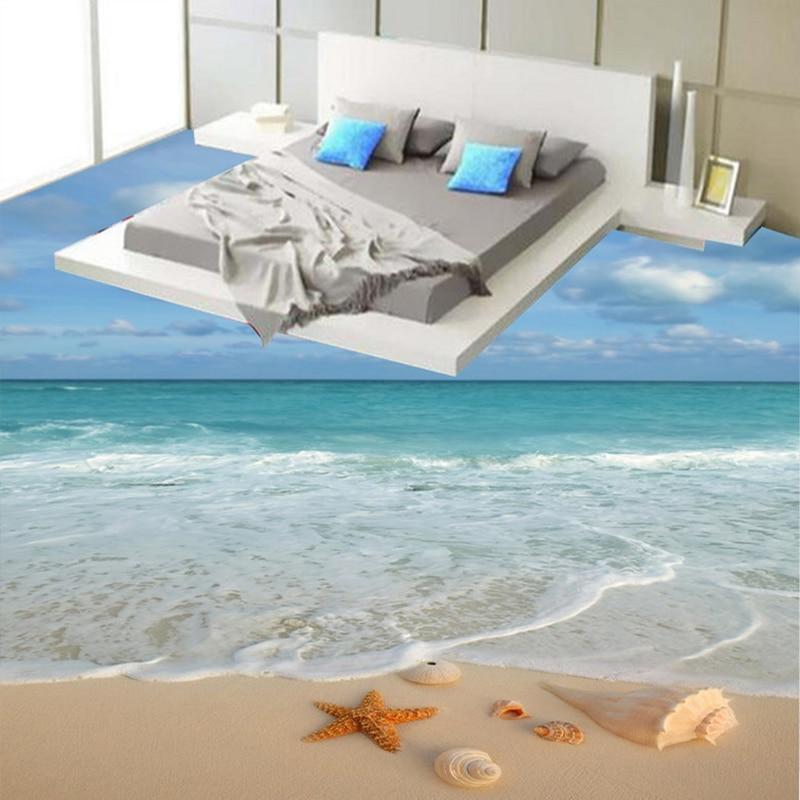 Modern Simple 3D Stereo Beach Sea Wave Starfish Conch Floor Tiles Mural Wallpaper Bathroom Bedroom PVC  Waterproof 3 D Flooring battlefield 3 или modern warfare 3 что