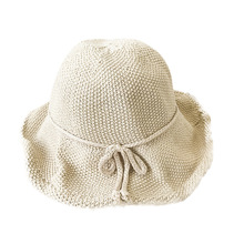 Women Bucket Cap Concise Casual Solid Color Folding Soft Breathable Sunscreen Hat