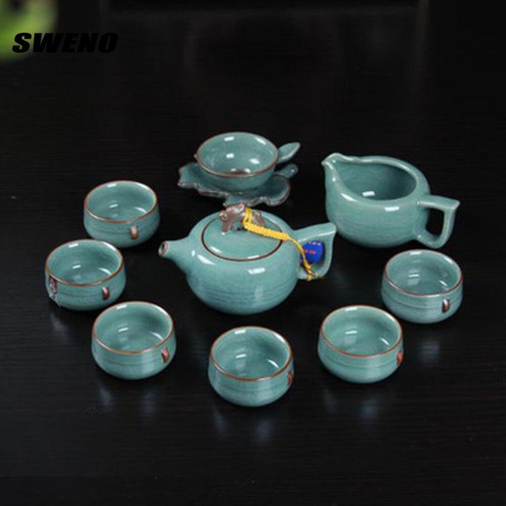 SWENO 11pcs/ Set Tianqing Kaiping Ru Kiln Ge Kiln Tea Set Ruyi Pot Ceramic Gift Kung Fu Travel Tea Set Quick Cup,teapot Kettle