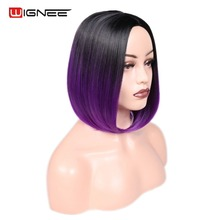 Wignee Straight Hair Synthetic Wig Bob Wig For Women Ombre Purple/Blue/Green/Brown High Density Temperature Glueless Cosplay Wig ladylike lolita mikasa ackerman bob style straight cosplay wig for women