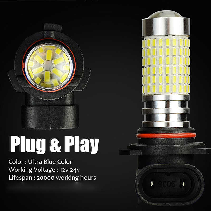 1pcs 1500 Lumens Extremely Bright 144-EX Chipsets 9006 HB4 LED Bulbs with Projector for Fog Lights, 6000K White Lighting