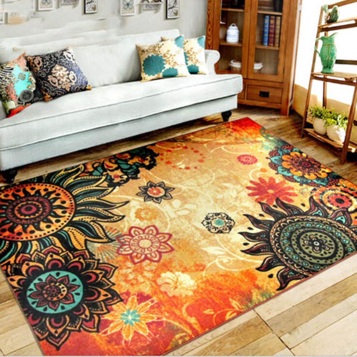 Retro Carpet Bohemia Style Rug Floor Mat Blanket Fluffy Anti Skid Shaggy  Area Home Bedroom