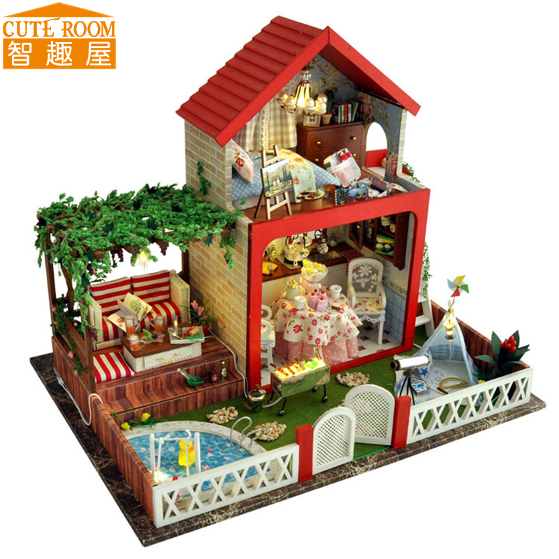 Assemble DIY Doll House Toy Wooden Miniatura Doll Houses Miniature Dollhouse toys With Furniture LED Lights Birthday Gift TB5 cutebee pretend play furniture toys wooden dollhouse furniture miniature toy set doll house toys for children kids toy