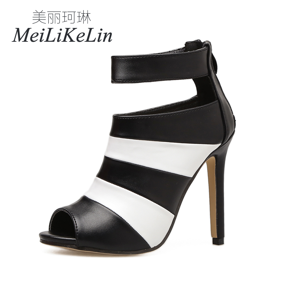 MeiLiKeLin NEW Summer Fashion Style womens high heels ladies Peep Toe  Zipper Concise shoes woman sandals US5 9 Black-in Women s Pumps from Shoes  on ... 1eecb879c2d7