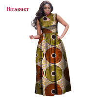 Hitarget Danshiki Summer African Dresses for Women African Print Clothing Sleeveless Sexy Maxi Dress Plus Size customized WY4147