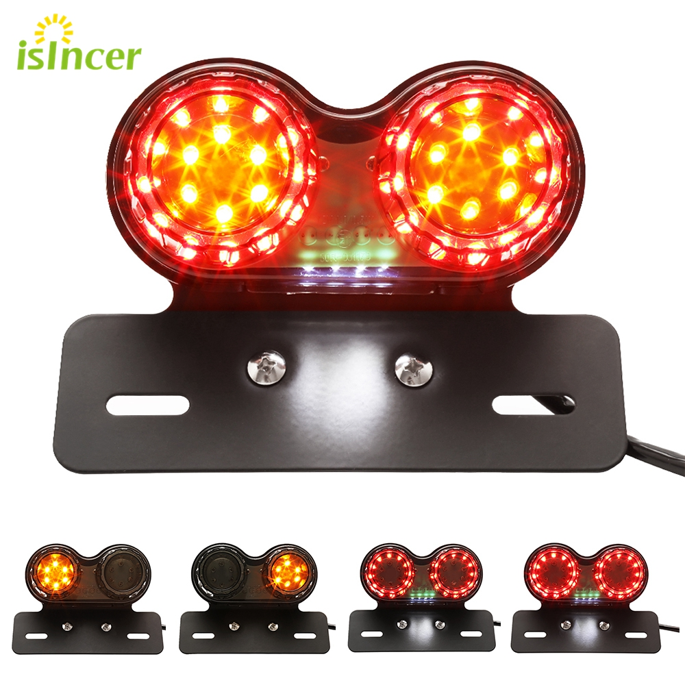 1 Piece Motorcycle Tail font b Lamps b font License Plate LED Brake Turn Signal Light