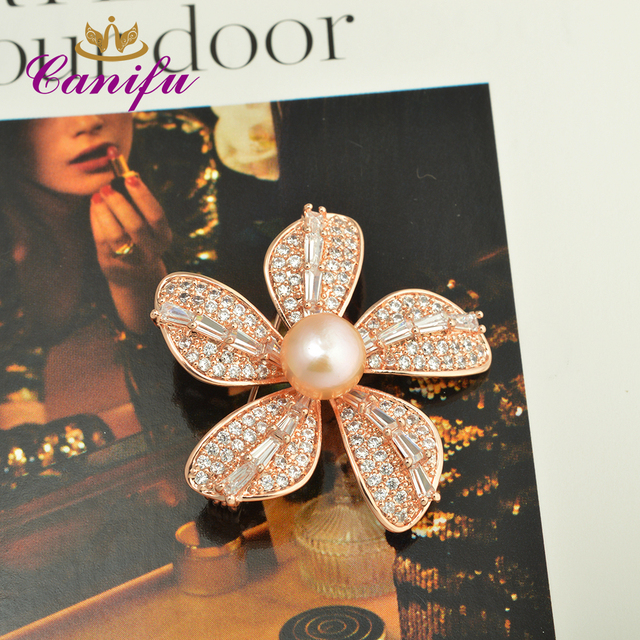 547c2311737 Canifu Fashion Full Rhinestone Rose Gold Color Five leaf Flowers shape  Luxury Pearl wedding brooches pin gifts for women