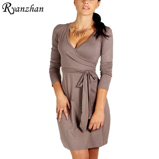 Ryanzhan Vestidos 2017 Spring New Long Sleeve V Neck Women Office Work Dress Ladies Robe Casual Summer Dresses Plus Size Sheath