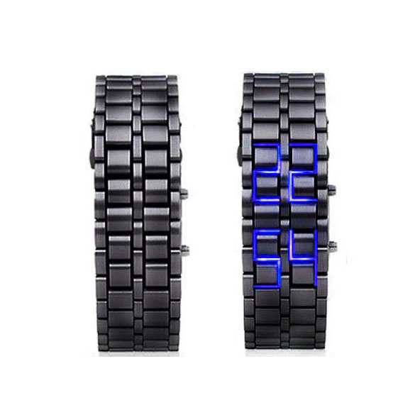 LUHAN Lava Style LED Digital Wristwatches  Iron Samurai Metal Black Straps LED Watch Fashion Men's Women Watches For Lover   LL