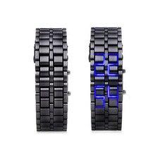LUHAN Lava Style LED Digital Wristwatches Iron Samurai Metal Black Straps LED Watch